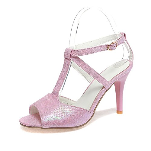 AllhqFashion Damen Offener Zehe Schnalle Blend-Materialien Rein Stiletto Sandalen mit Hohem Absatz Pink