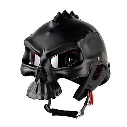 Wansheng Casco De Moto Forma De Calavera Negro Casco