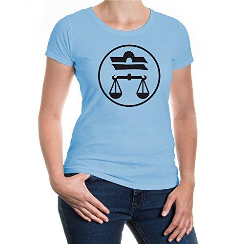 buXsbaum® Girlie T-Shirt Waage-Tierkreiszeichen Skyblue-Black
