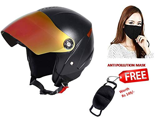 JMD GRAND Premium Open Face Helmet With Mirror Visor (Black, Medium)