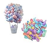 CozofLuv 100 Stück Heliumluftballons leuchtende Farben Blau Pink Rot Grün Lila Gelb Macaron 10 Inch Latex-Ballon Luftballons Deko für Hochzeit, Geburtstag, Taufe, Party