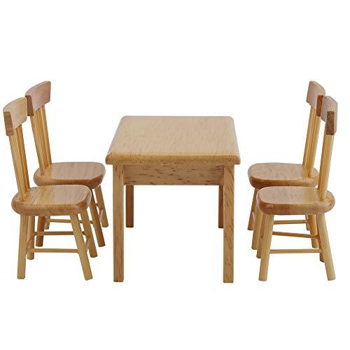 FTVOGUE 5 stücke Esstisch Stuhl Modell Set 1:12 Puppenhaus Miniatur Mini Möbel Spielzeug(Wood Color)