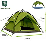 Campmore Wurfzelt 2/3/4 Personen wasserdicht, Sekundenzelt Campingzelt Kuppelzelt 240x210x135cm(Grün)