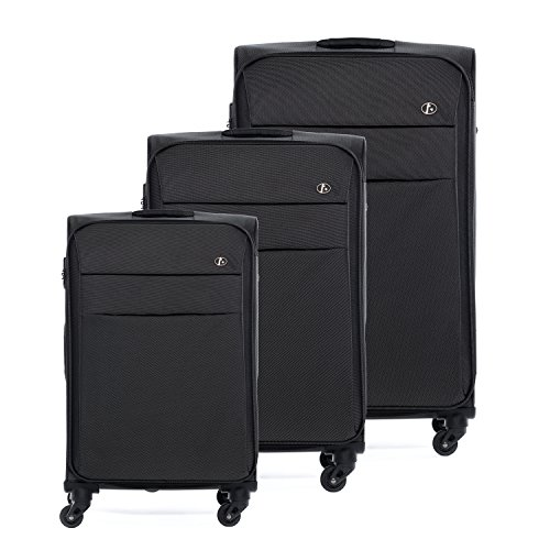 FERGÉ ® Dreier Kofferset leicht Calais Trolley-Stoffkoffer Weichschale | 3 Trolley-Weichschalenkoffer mit 4 Komfortrollen (360°) | Koffer schwarz | PREMIUM-QUALITÄT