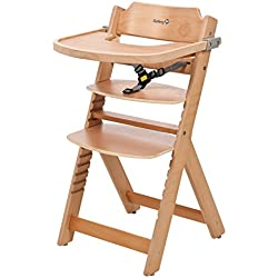 Safety 1st Timba - Trona con bandeja, de madera, cinturón de 3 puntos, color natural