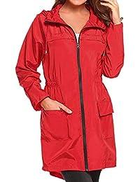 Femme Manteau à Capuche,Poids Légers Voyage Raincoat Imperméable Coupe-Vent  Randonnée Veste Bringbring f292fd989e52