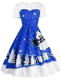 Weihnachtskleid,Transwen Damen Vintage O-Neck Printed Kurzarm A-Linie Swing  Kleid Weihnachtsdeko Cocktailkleid… 7e811a2b70