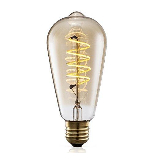 TRANSTEC® ST64 FLEXIBLE Filament Ampoule – 4 Watt Verre Ambré Vintage Edison Maison-Deco Rétro Ampoule Blanc Chaud – Large Dimmable – Noël Valentin Fête Ampoule – E27 Culot 2200K