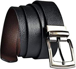 KAEZRI 100% Genuine leather Reversible Black|Brown belt for men formal and belts for boys(2 Years Money Back Guarantee) -belts for men leather original-belt for men casual-belt for men formal-belts for men casual stylish-gifts for men