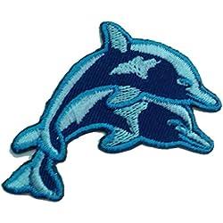 Toppe termoadesive - bambino delfino - blu - 6.9x4.1cm - Patch Toppa ricamate Applicazioni Ricamata da cucire adesive