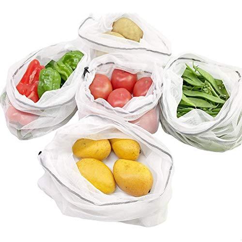 Kindlyperson 5 stücke Wiederverwendbare Mesh Produce Taschen Waschbar Umweltfreundliche Taschen für Lebensmittelgeschäft Lagerung Obst Spielzeug -