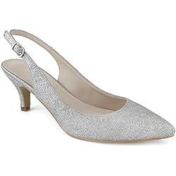 Greatonu Zapatos de Tacón de Aguja con Tira Trasera en el Tobillo para Boda y Fiesta Plateado Talón Abierto Diseño Elegante Modo para Mujer Talla 41 EU