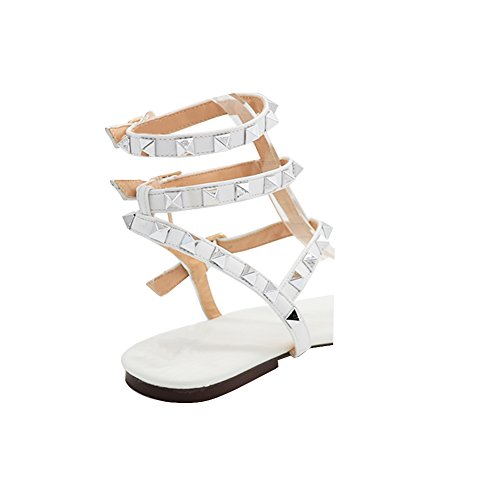 Sandalen Flach Flats Nieten Size 125 MERUMOTE Gladiator White Y 46 EU Damen 35 YUBq60