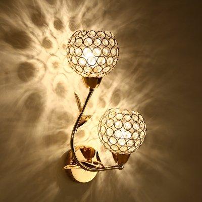 YYHAOGE Ledj Lampe Schlafzimmer Nachttischlampe Balkon Wandleuchten Crystal Off Road Lights Treppen Licht Über,658 Gold Crystal Dual Head+5W -