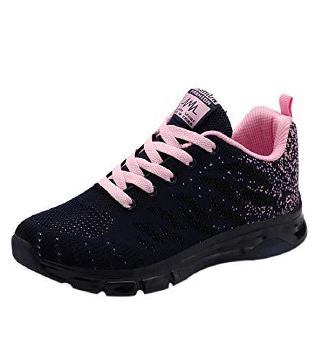 HupoopFlying Woven Schuhe Air Cushion Sneakers Student Net Laufschuhe(Rosa,39) -