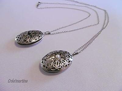 Pendentifs filigrané en acier inoxydable pour mettre une photo, chaîne en acier inoxydable, bijou femme, cadeau femme.
