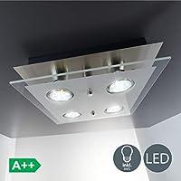 Plafoniera LED da soffitto, lampada moderna da soffitto, include 4 lampadine GU10 da 3W 250 Lumen, luce calda 3000K, lampadario quadrato corpo metallo e vetro, color nickel opaco, 230V IP20