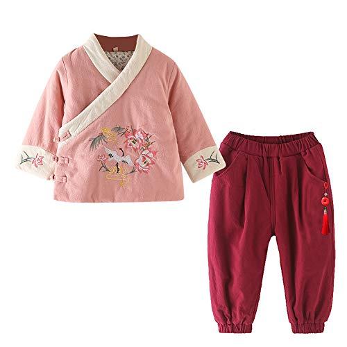 XFentech Baby Mädchen Winter Tang Anzug - Chinesische Kleidung Set Langarm Top & Hose Traditionelle Nationale Chinesischen Stil Hanfu, Rosa-3/120