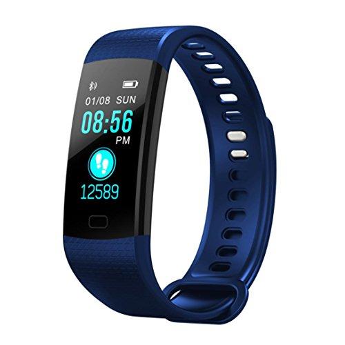 Fuibo Smartwatch, Smart Watch Sport Fitness Aktivität Herzfrequenz-Tracker Blutdruckuhr   Intelligente Armbanduhr Sport Fitness Tracker Armband (Blau) (Vibrations-sensor-armband)