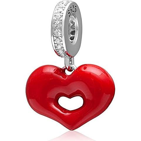 Red Love smalto bacio Lip cuore ciondolante Charm 925 Ciondolo Argento Perle Compatibile con 3 millimetri catena del serpente Bracciale