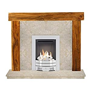The Fenchurch Acacia & Botticino with Crystal Diamond Contemporary Gas Fire Brushed Steel, 48 Inch