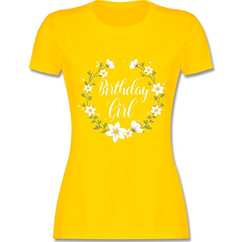 Shirtracer Geburtstag - Birthday Girl Flowers - Damen T-Shirt Rundhals Gelb