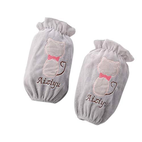 1 paio di protezioni per le maniche da donna maniche lunghe per la pulizia manicotti anti pelucchi con motivo cartone tessuto di peluche per ufficio