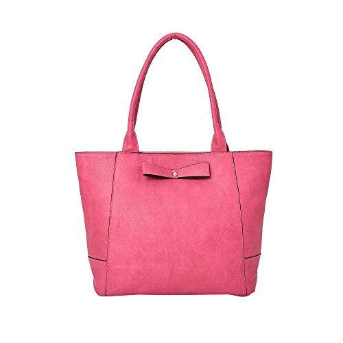 Haute für Diva S Neu Damen Kunstleder Schleife Dekoration große Panel Einkaufstasche Schultertasche - Rot, Large Fuchsia