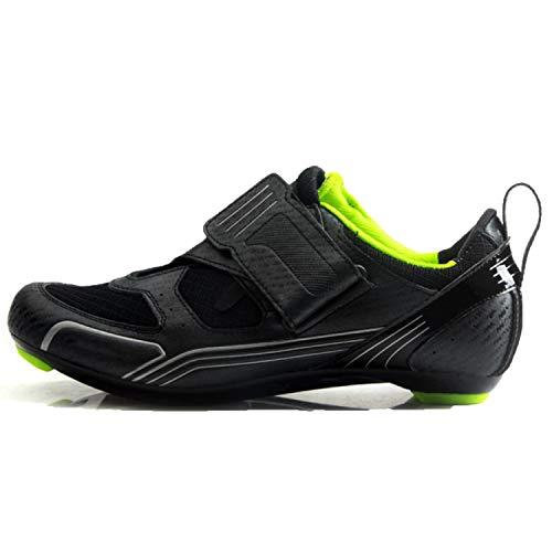 Scarpe da Ciclismo da Uomo A Prova di Impermeabilità Triathlon Scarpe con Chiusura Professionale Scarpe da Bicicletta da Strada,Black-44