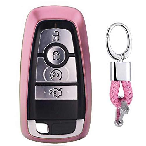Rosa Car Keyless Entry Key Cover Fall für 2017 Ford Fusion F250 F350 F450 F550 2018 Edge Explorer 4/5-Buttons, weiches TPU Schutzhülle mit Schlüssel Kette (Ford F450 Zubehör)