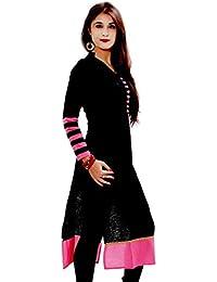 Nena Fashion Printed Black Cotton Straight Women's Latest Kurti For Girls Women - Kurti For Women Party Wear |...