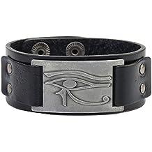 lemegeton el egipcio Ojo de Horus Metal Craft conector Cuff pulsera ajustable Wrap pulseras
