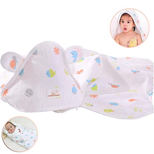 LYXCM Baby-Kapuzen-Badetuch Neugeborenes, Baby-Kapuzen-Badetuch-Set Aus Bio-Baumwolle Für Jungen Und Mädchen Lebendig (Eine Richtung Handtuch-set)