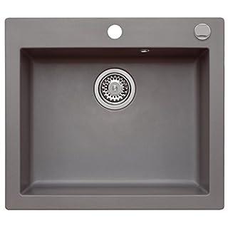 AXIS KITCHEN Granitspüle Einbauspüle Mojito 60 Küchenspüle Moonlight Grey Grau Material Axigran 60er Unterschrank Spülbecken Siphon, Exzenterbedienung Spüle