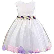 Moollyfox Niña Vestido Flor para Partido Boda Sin Mangas Capas de Tul Tutú Vestido de Princesa