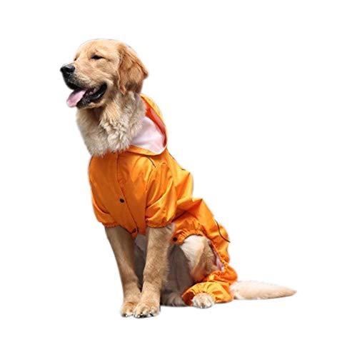 Kostüm Husky Hunde - REFURBISHHOUSE Gro?er Hunde Regen Mantel Mit Kapuze Golden Retriever Kleidung Mittel Gro?er Hunde Regen Mantel Kostüme Wasserdichter Overall Für Labrador Husky Orange XL