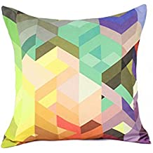 Decorativo colorido brillante diseño geométrico Chevron Watercolor manta funda de almohada en color rosa, morado, verde 18 x 45,72 cm suave algodón de lino, Pattern C, Cotton Linen Blend