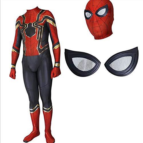 Muswanna87 Fashion 3D bedruckter Spiderman Cosplay Kostüm Spiderman Superhelden Linsen Spandex Zentai Jumpsuit mit Maske für Halloween-Party etc, S