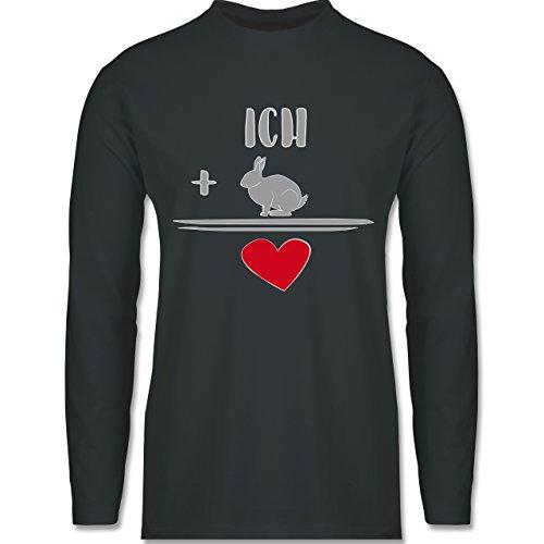 Sonstige Tiere - Hasen-Liebe - Longsleeve / langärmeliges T-Shirt für Herren Anthrazit