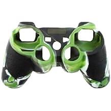 OSTENT Funda de piel de camuflaje cubierta de silicona compatible para Sony PS2 / 3 Wireless / Wired Controller - Color verde