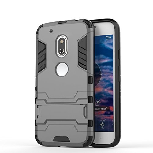 Chevron Rugged Terrain Armor Protective Shockproof Kick Stand Back Cover Case for Motorola Moto G4 Play (Grey)  available at amazon for Rs.145