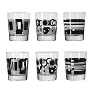 ikea godis mix glas gemustert schwarz wei 6 pack 20 cl k che haushalt. Black Bedroom Furniture Sets. Home Design Ideas