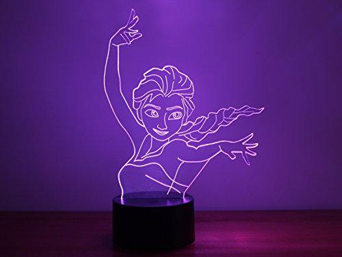 Frozen Ice Regina Elsa 3d LED luci lampada da tavolo Cambia colore luce di notte illuminazione USB Power