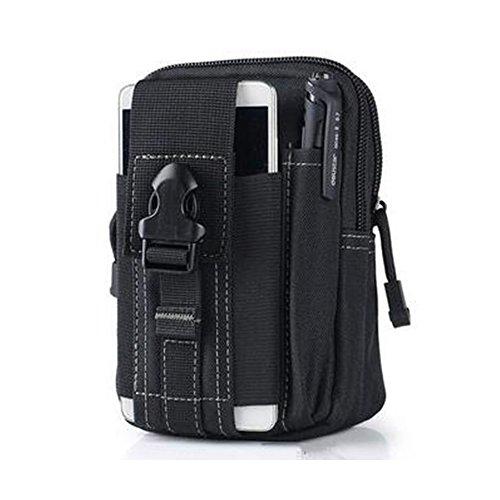 Naerde all'aperto o in campeggio trekking borsa borsa tattico scalare in confezione borsa compatta molle stile utilità gadget involucro cellulare (nero)