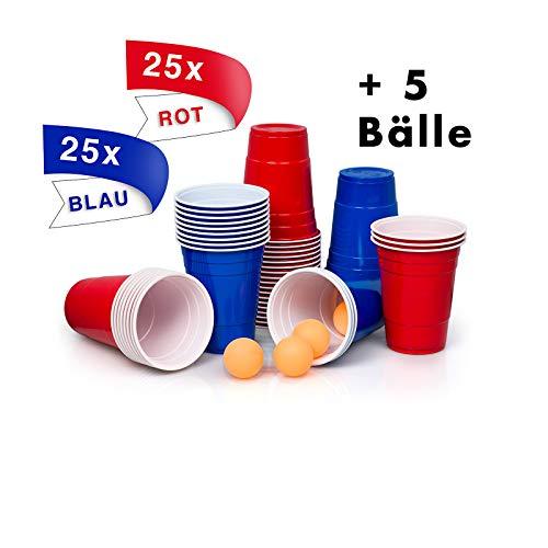 [50+5]Premium Bierpong Becher Set | 25 rote+ 25 blaue Becher +5 gelborangene Bälle Inklusive E-Book Bierpong Regeln 530 ml für Spaß, Home-Party Beer Pong Becher Red Cups Trinkspiel, Partybecher