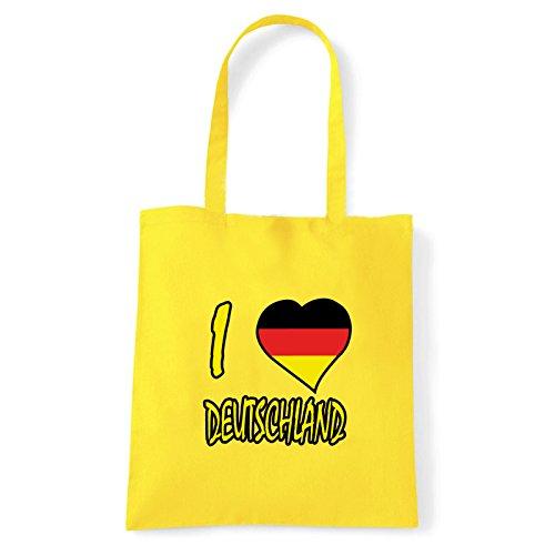 Art T-shirt, Borsa Shoulder I Love Deutschland, Shopper, Mare Giallo