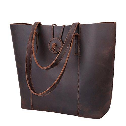 41TOsEQI46L UK BEST BUY #1S ZONE 15 inch Laptop Vintage Women Crazy Horse Leather Tote Removable Pouch Shoulder Bag Handbag Brown