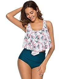 be866c665f400 Mujer Bikini Braga Alta Dos Piezas Volante de Patchwork sin Mangas con  Cuello de Pico Vintage