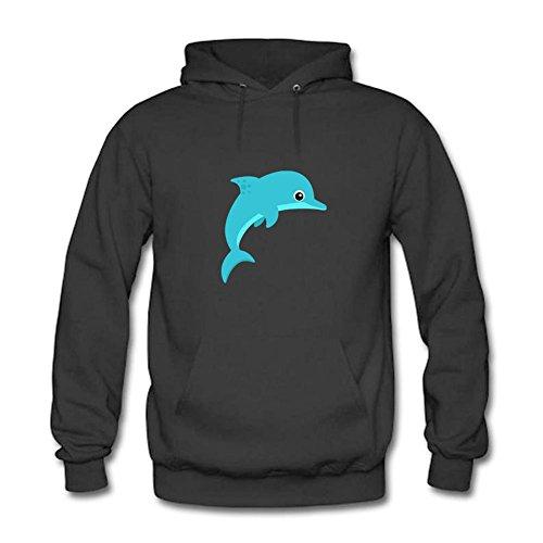 Mens Original Design Hoodie Cartoon Dolphin Unisex Hooded Sweatshirt Long Sleeve Tops Black 2XL (Disney Zip-up Hoodie)