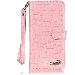 Ekakashop Couqe Etui Compatible avec iPhone 6s Plus Coque Rabat, Élégant Pliable Aimant Stand Wallet Shell de Protection Silicone Back étui Magnétique Compatible avec iPhone 6 Plus[Crocodile Rose]